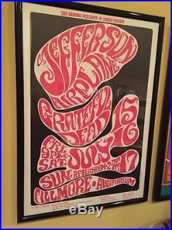 1966 Grateful Dead, Jefferson Airplane Psychedelic Concert Poster BG 17 Framed