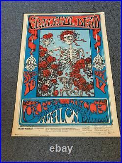 1966 Grateful Dead Skeleton & Roses Concert Poster Stanley Mouse Signed
