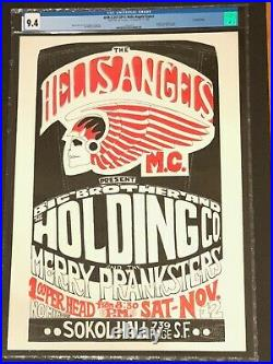 1966 Hells Angels Sokol Hall Poster withBig Brother & Grateful Dead CGC 9.4 MINT