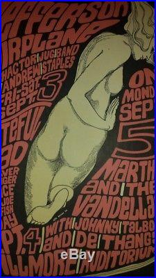 1966 Jefferson Airplane Grateful Dead + More Org Poster Wes Wilson 1st Printing