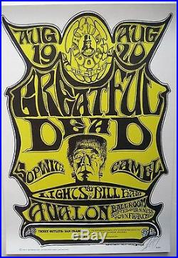 1966 Mouse Kelley Signed Grateful Dead Family Dog Fillmore Era Poster Fd 22