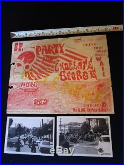 1967 Chocolate George Wake Hells Angels Grateful Dead Concert Poster with photos