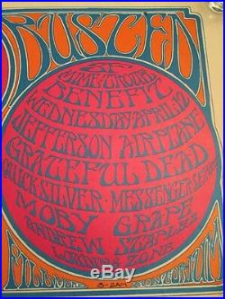 1967 Grateful Dead BUSTED! Concert Poster Airplane, Moby Grape Fillmore