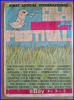 1969 Palm Beach Music Festival with The Rolling Stones, Janis Joplin & More Poster