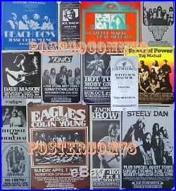 1970s Vintage 13 Concert Poster Set, Grateful Dead, Beach Boys, Santana, Kinks