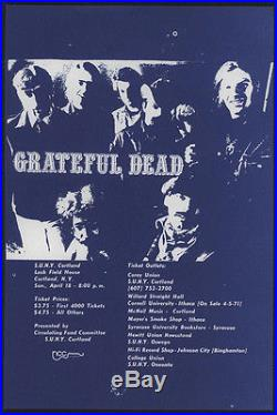 1971 GRATEFUL DEAD Concert Handbill, Cortland, NY