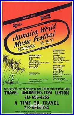 1982 Jamaica World Music Festival Grateful Dead The Clash Concert Poster