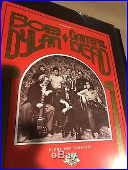 1987 Vintage Original First Print Grateful Dead Bob Dylan Poster By Bill Graham