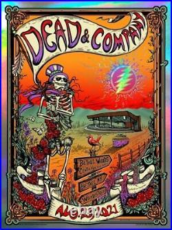 2021 Dead and Company Bethel NY Woodstock Rainbow Foil Poster Mike Dubois