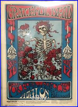 2nd STANLEY MOUSE signed FD26 Poster Grateful Dead Avalon BG AOR skeleton roses