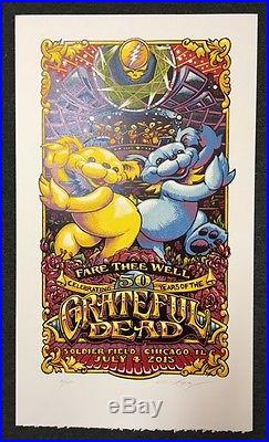 AJ MASTHAY GRATEFUL Dead LINOCUT poster print MINT CHICAGO 2015 July 4th