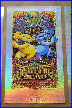 AJ Masthay Grateful Dead GD50 Fare Thee Well Chicago sparkle foil Triptych set