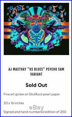 AJ Masthay Grateful Dead US Blues Psycho Sam Variant #/250 SHIPS ASAP