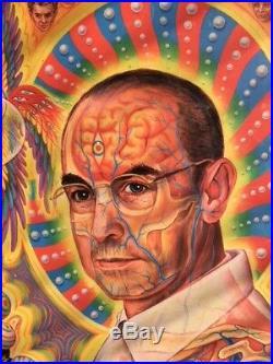 AUTOGRAPHED + DOODLE ALEX GREY Albert Hofmann FRAMED POSTER Grateful Dead LSD