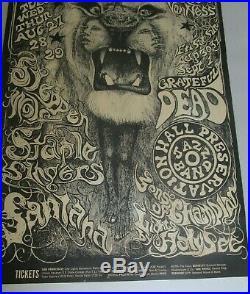 BG 134 Grateful Dead Santana 1968 Fillmore West Concert Poster