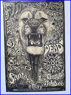BG134 GRATEFUL DEAD santana SIGNED fillmore POSTER lee conklin FD aor 1968