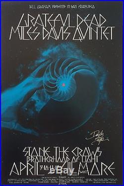 BG227 Grateful Dead Miles Davis Quintet Fillmore West Signed Concert Poster
