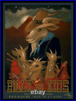 Billy & The Kids 2021 Red Rocks Poster By Stanley Mouse Dead & Company