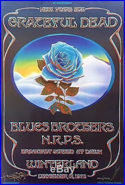 Blue Rose Grateful Dead Winterland Original Concert Poster Signed Mouse & Kelley