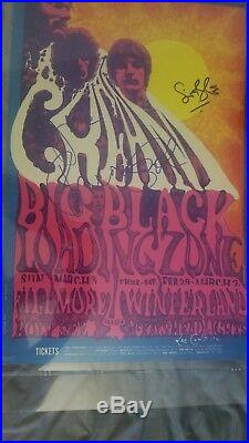 Cream Clapton Bruce Bill Graham Band Artist Signed Autographed Concert Poster
