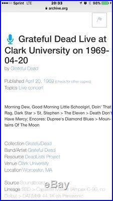 Desirable GRATEFUL DEAD / Roland Kirk 1969 Original/ Rare Concert Poster