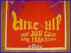 FILLMORE POSTER era HIRE THE HIP 1967 HAIGHT ASHBURY JOB CO-OP JOHN THOMPSON
