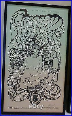 Fillmore Poster Framed BG 62 Signed by Wes Wilson 1967 Grateful Dead