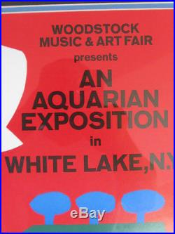 Framed Original 1969 Woodstock Poster & Unframed Ticket With Photos & Certificates