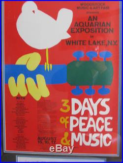 Framed Original 1969 Woodstock Poster With Photo & Certificate, Great Condition