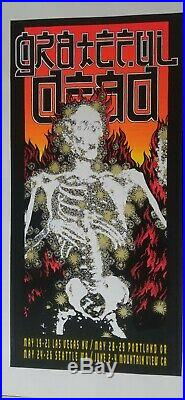 GRATEFUL DEAD 1995 tour flaming skeleton silkscreen artist Kelly. Gdm/artrock