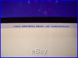 GRATEFUL DEAD 30TH ANNIVERSARY BLACK LIGHT POSTER RARE 2011 flocked 23 X 35