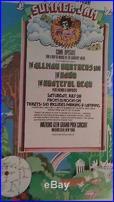 Grateful Dead Allman Brothers The Band Watkins Glen First Printin Concert Poster