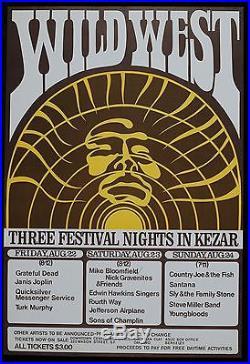 GRATEFUL DEAD (AOR 2.233) 1969 Wild West Kezer Stadium Poster Canceled Concert