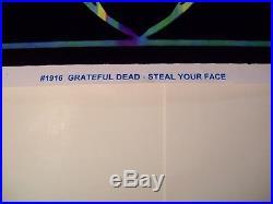 GRATEFUL DEAD BLACK LIGHT POSTER RARE STEAL YOUR FACE 23 X 35 flocked 2010