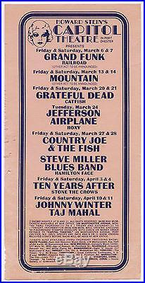 GRATEFUL DEAD Jefferson Airplane MOUNTAIN Grand Funk TYA 1970 Concert Handbill