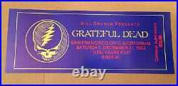 GRATEFUL DEAD POSTER 1983 GRAHAM Civic RARE Ticket Promo NEW YEARS EVE Jerry
