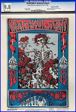 GRATEFUL DEAD Skeleton and Roses Original Poster Handbill CGC 9.8 FD-26-OHB-A