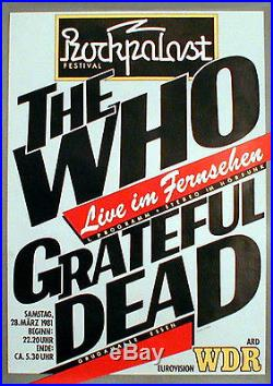 GRATEFUL DEAD and WHO rare concert poster from March 1981