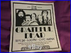 Grateful Dead 1973 Pittsburgh Wktq 19 X 17 Poster Lit Creases Rare Clean Vtg Htf