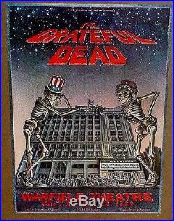Grateful Dead 1980 poster skelton over Warfield Theatre San Francisco MINT