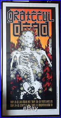 Grateful Dead 1995 Poster'Flaming Skeleton' Alton Kelley SIGNED & FRAMED