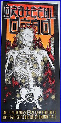 Grateful Dead 1995 Spring Tour Poster'Flaming Skeleton' Alton Kelley SIGNED