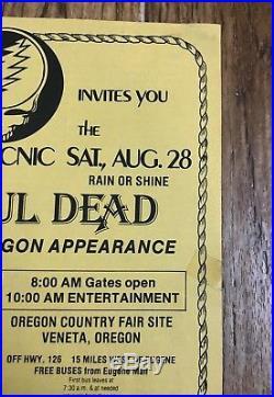 Grateful Dead 2nd Decennial Field Trip 1982 Veneta Oregon Original Flyer