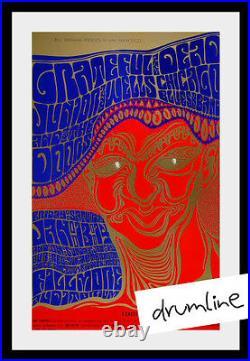 Grateful Dead And Doors Concert Poster January 1967 Rare 4th Print Fillmore