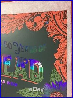 Grateful Dead Chicago Poster Gd50 Status Serigraph Print Foil Variant Green Red