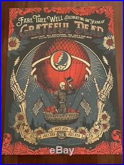Grateful Dead Fare Thee Well Poster 7/3 7/4 7/5 Soldier Field Justin Helton