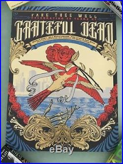 Grateful Dead Fare Thee Well VIP Rare 3 Poster SET Justin Helton Chicago GD50