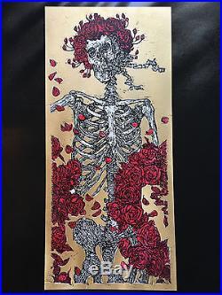 Grateful Dead Gold Glitter Print by Jon Rose Bertha Skeleton GD50 Ltd Ed Poster