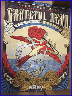 Grateful Dead Golden VIP 3Poster Set Justin Helton Rare FARE THEE WELL Free Ship