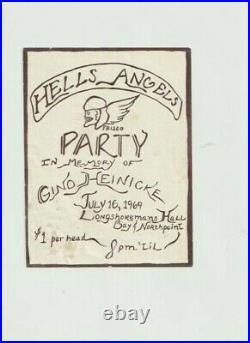 Grateful Dead Hells Angels Geno Heinicki First Print Concert Handbill Flyer